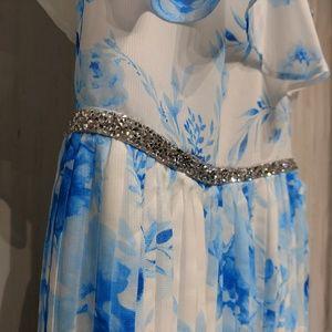 emily west Dresses - Girl's Blue Floral Formal Beaded Dress